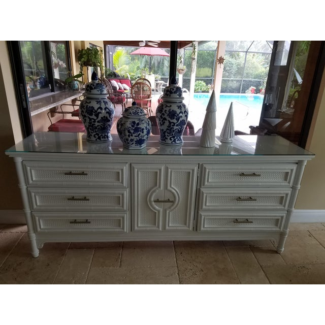 Lots of Storage in this Elegant Vintage Chinoiserie 9 Drawer Faux Bamboo Credenza Identification: Burlington House...