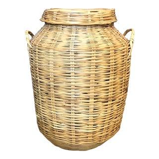 Large Wicker Floor Basket For Sale