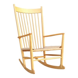 Hans Wegner J16 Beech Wood Rocking Chair For Sale
