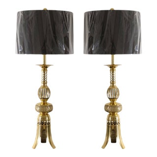 Pair of Brass Asian Lamps by Frederick Cooper For Sale