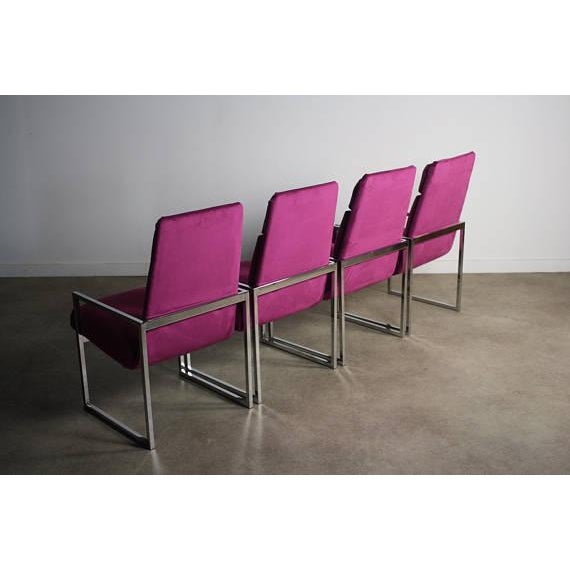 Mid-Century Modern Milo Baughman Chrome Dining Chairs - Set of 4 For Sale - Image 3 of 5