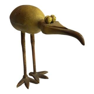 Folk Art Hand Carved Wooden Bird Sculpture For Sale