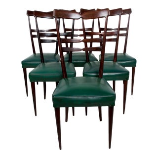 Mid-Century Italian Green Dining Chairs, After Ico Parisi - Set of 6 For Sale