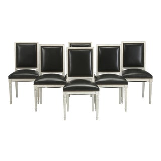 French Louis XVI Style Dining Chairs in Black Leather and Distressed White Paint - Set of 6
