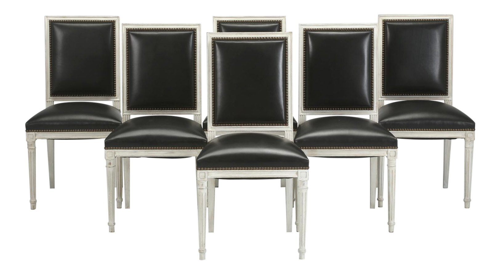 French Louis XVI Style Dining Chairs In Black Leather And Distressed White  Paint   Set Of 6