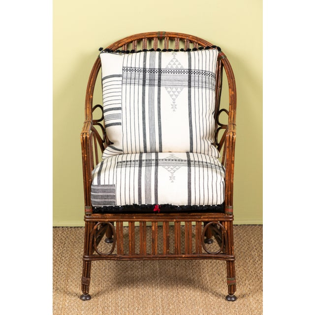 Adirondack 1920s American Bent Wood Chair With Injiri Upholstery For Sale - Image 3 of 9