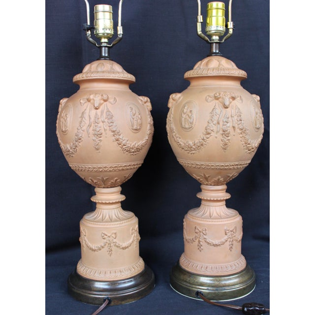 A Pair of Terra Cotta Neoclassical Urn Lamps For Sale In Milwaukee - Image 6 of 6