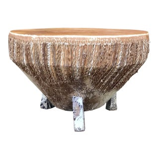 1950's Vintage Hide-Covered African Drum Table For Sale