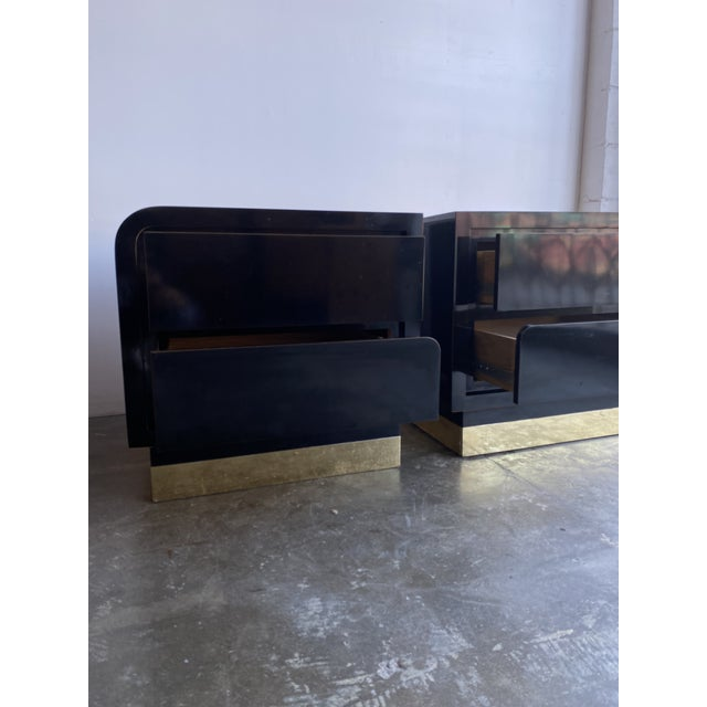 1980s 1980s Black Laqcuer and Brass Nighstands-a Pair For Sale - Image 5 of 12