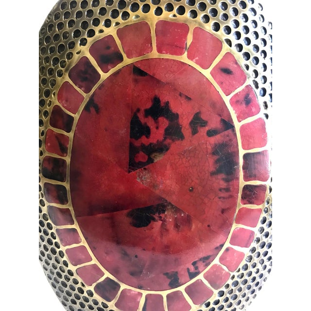 Metal Vintage R & Y Augousti Ovoid Vase in Solid Bronze and Exotic Mosaic Pen-Shell For Sale - Image 7 of 13
