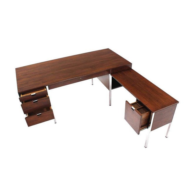 Dunbar Large Walnut Executive Desk with Return For Sale - Image 10 of 10