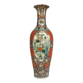 Asian Chinese Style Monumental Porcelain Floor Vase For Sale