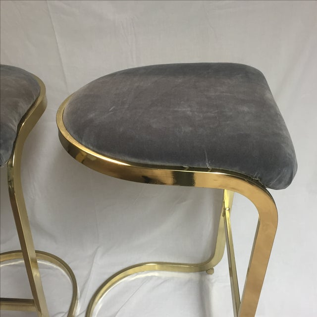 Hollywood Regency Vintage Brass & Gray Velvet Bar Stools - a Pair For Sale - Image 3 of 8