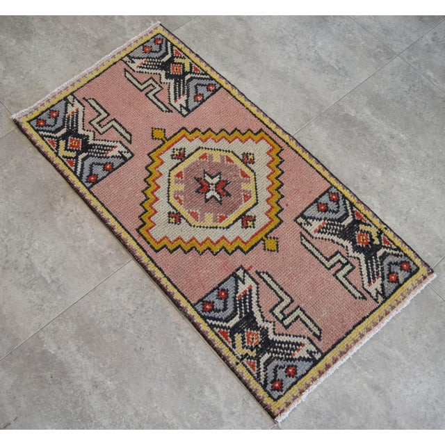 "Hand Knotted Door Mat, Entryway Rug, Bath Mat, Kitchen Decor, Small Rug, Turkish Rug - 1'9"" X 3'4"" For Sale - Image 4 of 5"