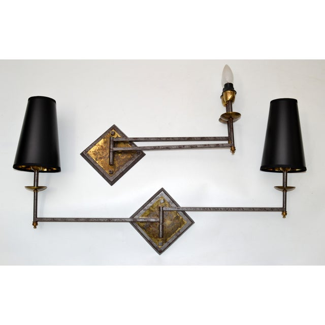 French Mid-Century Modern Metal & Brass Swing Arm Sconces, Wall Lights - Pair For Sale - Image 4 of 13