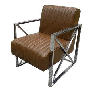 1970s Art Deco Chrome Legged Club Chair