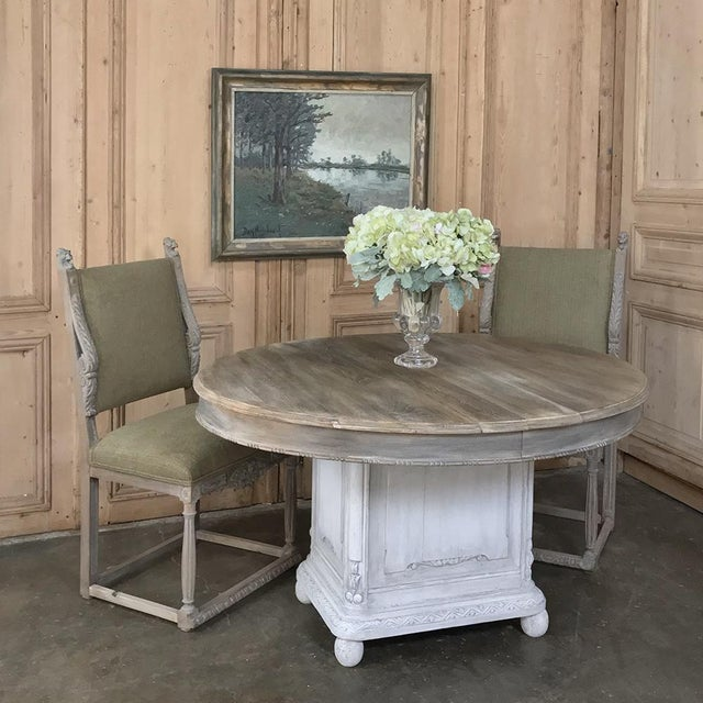19th Century French Louis XVI Oval Painted Pedestal Table is an excellent example of the breed, with solid oak plank top...