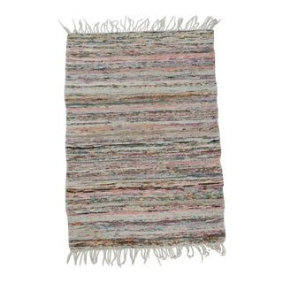 Mid 19th Century Antique Handmade Swedish Rag Rug - 2′5″ × 3′3″ For Sale