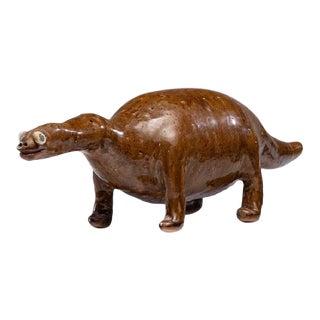 """Original Vintage Reggie Meaders Stoneware Dinosaur-Signed-19""""l For Sale"""