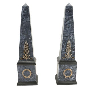 Neoclassical Faux Marble Obelisks- A Pair For Sale