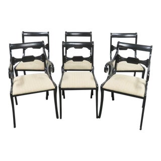Regency Style Ebonized Dining Chairs - Set of 6 For Sale
