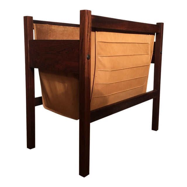 Danish Rosewood & Leather Magazine Rack - Image 1 of 11