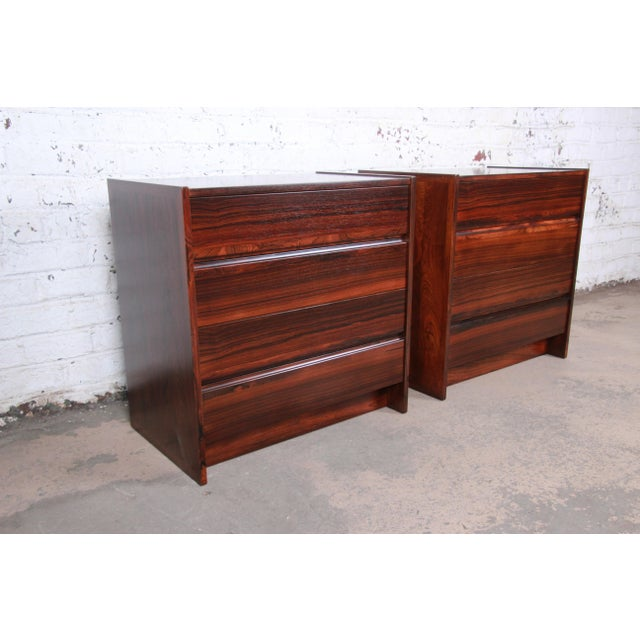 Danish Modern Rosewood Bachelor Chests or Large Nightstands, Newly Restored For Sale In South Bend - Image 6 of 13