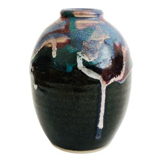 Vintage Drip Pottery Vase - Colorful Drips on Black Base For Sale