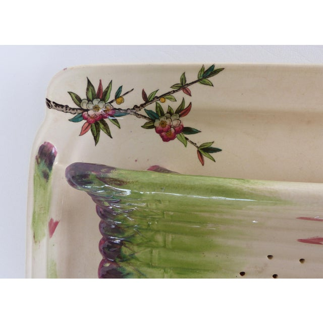 Ceramic 19th Century French Faience Asparagus Strainer & Attached Serving Dish For Sale - Image 7 of 13
