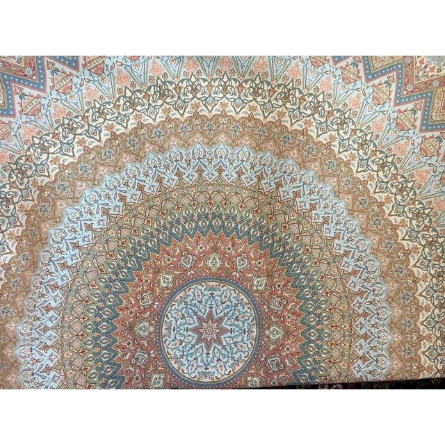 Finely Knotted Silk Qom Carpet - 7′10″ × 11′4″ - Image 7 of 8