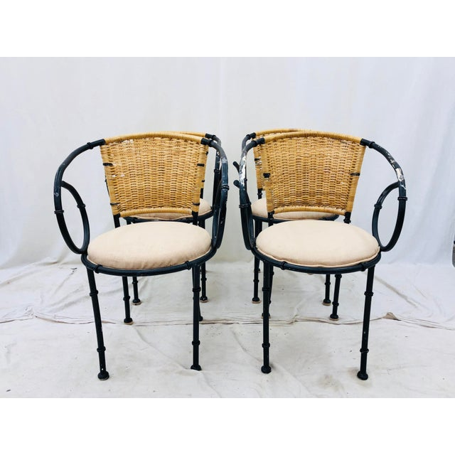 Vintage Metal & Wicker Bistro Chairs For Sale - Image 10 of 13