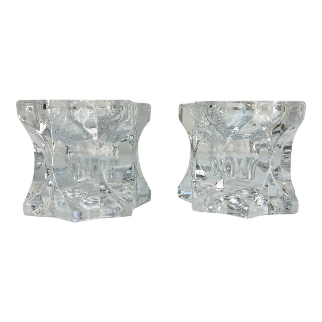 Vintage Faceted Crystal Candle Holders - a Pair For Sale