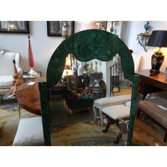 1960's Vintage Italian Faux Malachite Lacquered Mirror For Sale In Houston - Image 6 of 8