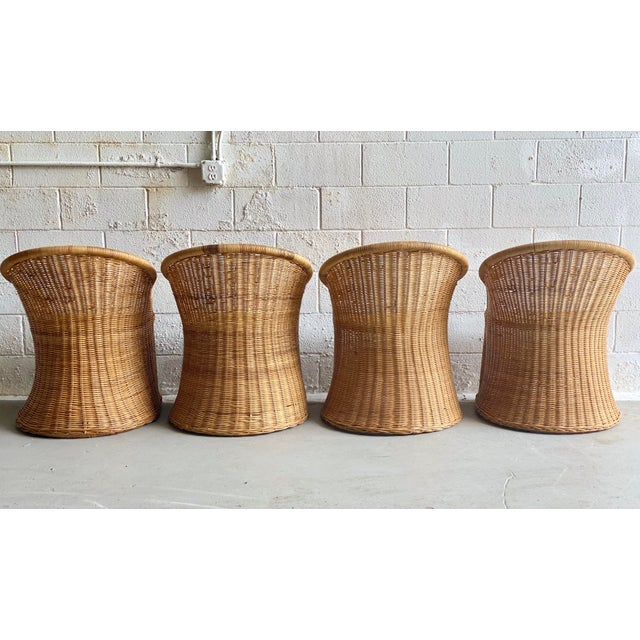 1960s Trompe L' Oeil Wicker Rattan Dining Set – 5 Pieces For Sale - Image 4 of 11