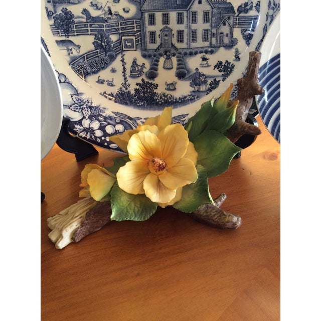 Vintage Capodimonte Flower in Yellow For Sale In Columbus - Image 6 of 10