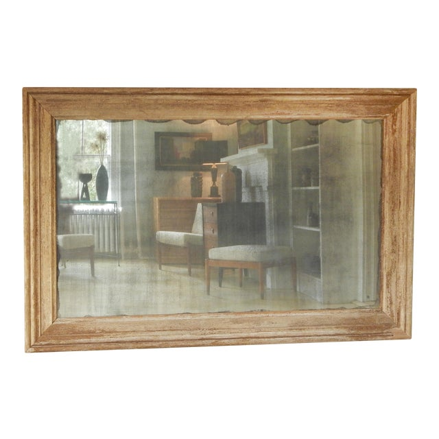Large Distressed Wood Frame Mirror For Sale