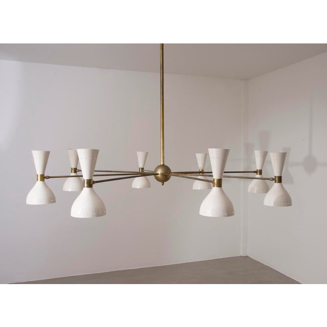 Mid-Century Modern Stilnovo Eight Arm Diabolo Chandelier, Italy, 1950s For Sale - Image 3 of 12