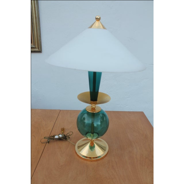 Contemporary Blue and Brass Lacquered Table Lamp - Image 9 of 11
