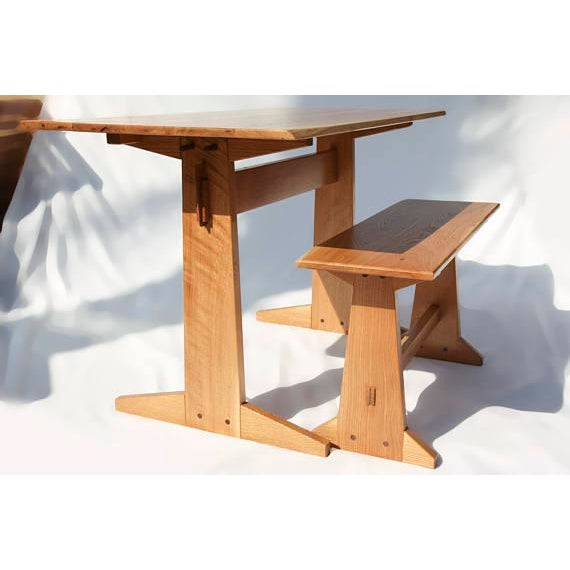 Japanese Style Trestle Table & Bench - A Pair - Image 2 of 11
