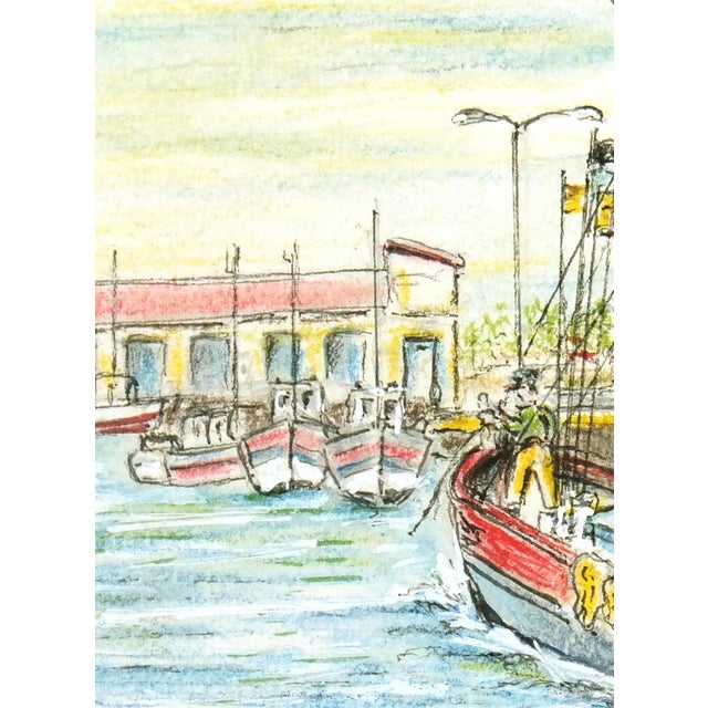 Contemporary French Port Watercolor Painting - Image 3 of 4