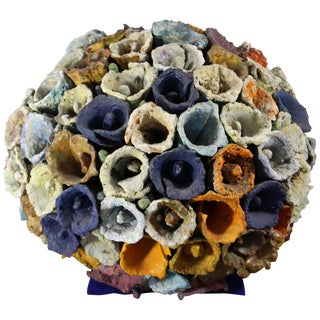 Contemporary Modern Sphere of Cones by Juanita May Textured Ceramic Sculpture For Sale