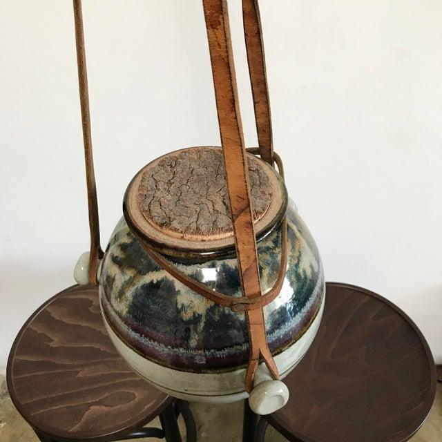 Blue Vintage Hanging Ceramic Water Vessel For Sale - Image 8 of 10