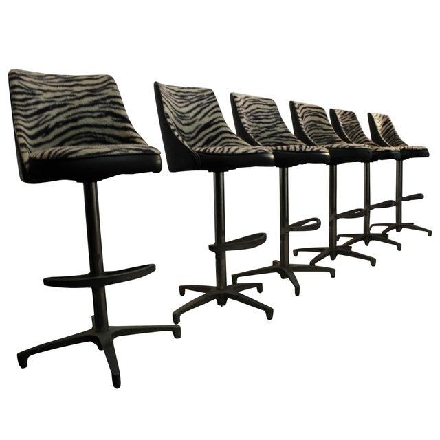 Chromcraft Mid-Century Zebra Bar Stools - Set of 6 - Image 1 of 10