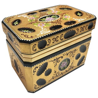Hand Enameled & Gold Encrusted Hinged Glass Table Box For Sale