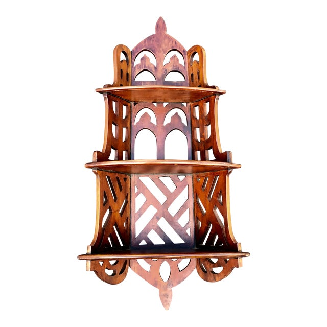 Chippendale Style Mahogany Three Tier Shelves For Sale