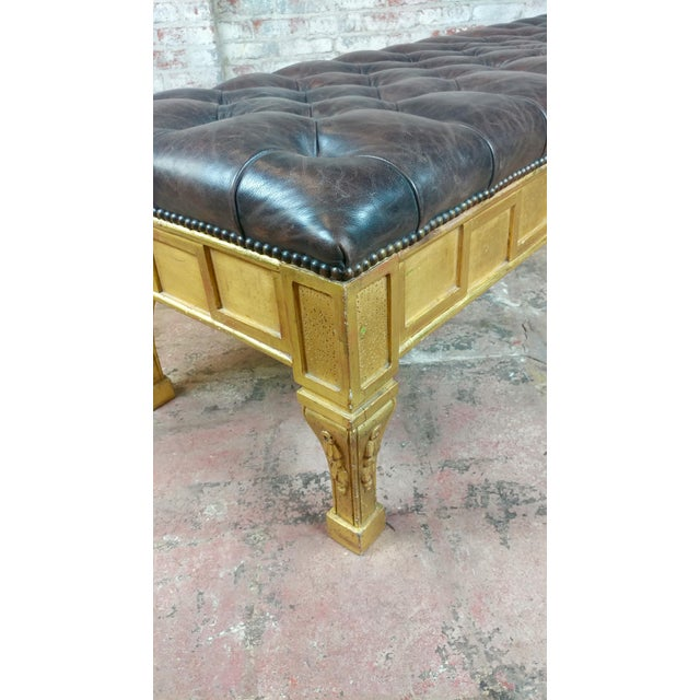 Late 19th Century French Empire Beautiful Tufted Leather Window Bench For Sale - Image 5 of 10