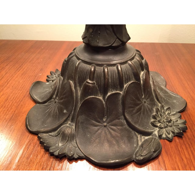 Artist Signed Butterfly Lotus Stained Glass Lamp - Image 10 of 11