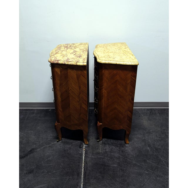 French Louis XV Style Inlaid Kingwood Marble Top Lingerie Chests - Pair For Sale - Image 11 of 13