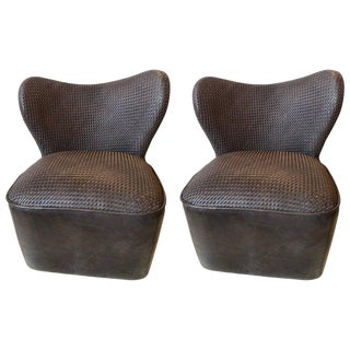 Modern Woven Charcoal Grey Leather Seat and Backrest Side Chairs - a Pair