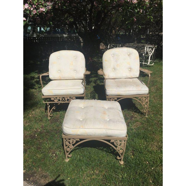 Vintage 1960 S Aluminum Patio Chairs And Ottoman Set Of 3 Chairish